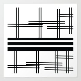 Matchy Stripes Black and White Art Print