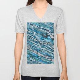 Blue Marble with Black Unisex V-Neck