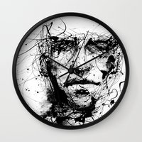 face Wall Clocks featuring lines hold the memories by agnes-cecile