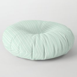 Simple Delicate Unequal Textured Minimalist White Stripes   Misty Jade Color Floor Pillow