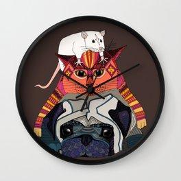 mouse cat pug chocolate Wall Clock