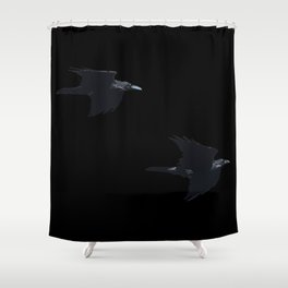 Thought and Memory Norse Pagan Symbology Shower Curtain