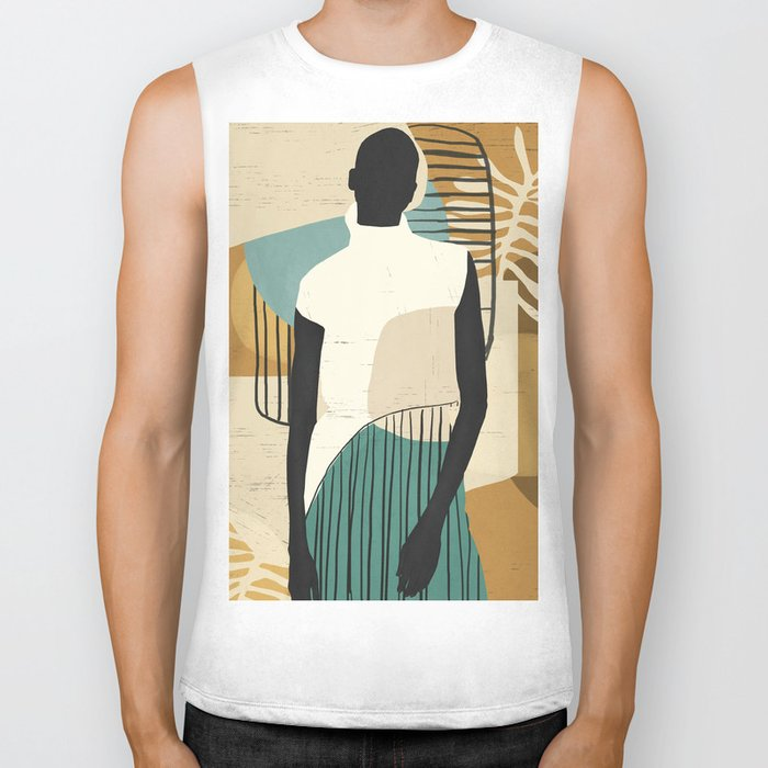 Tropical Girl /Abstract Art Biker Tank