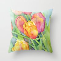 tulips Throw Pillows featuring Tulips by Susan Windsor