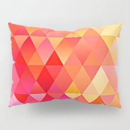 Hot Pink Bright Orange Diamond Triangles Mosaic Pattern Pillow Sham