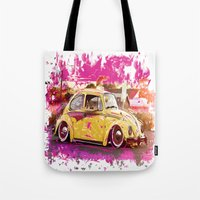 volkswagon Tote Bags featuring yellowinpink beetle bug by Vector Art