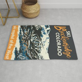 Yellow Breckenridge Vintage Ski Poster Rug