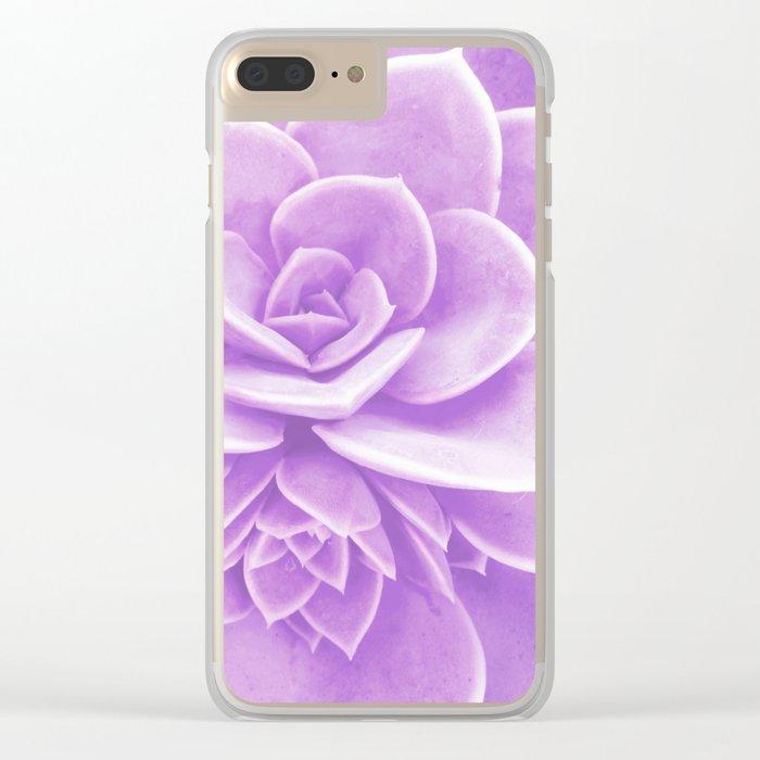 Purple Succulent Reflection Clear iPhone Case