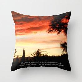 Serenity Prayer Sunset Red Clouds Throw Pillow