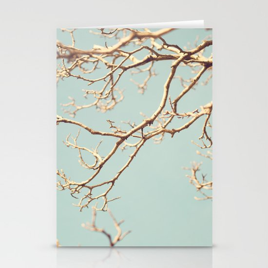 Pale Blue Winter (Tree branches on a retro pale blue sky) Stationery Cards
