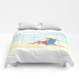 Lady Reading on Beach Comforters