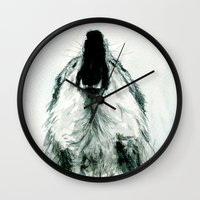 howl Wall Clocks featuring HOWL by Joelle Poulos