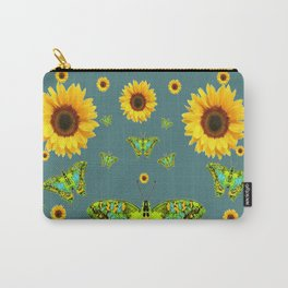 SUNFLOWERS & GREEN MOTHS ABSTRACT ART Carry-All Pouch
