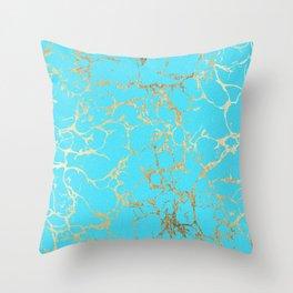 Modern aqua elegant faux gold foil marble pattern Throw Pillow