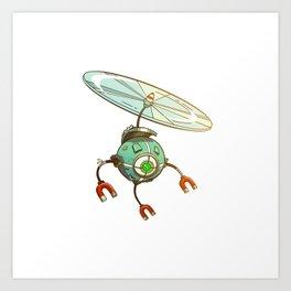 Green robot Art Print