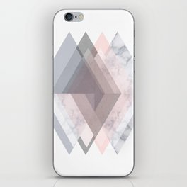 BLUSH MARBLE GRAY SCANDINAVIAN GEOMETRIC iPhone Skin