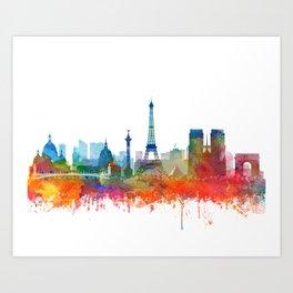 Paris City Skyline Watercolor by Zouzounio Art Art Print