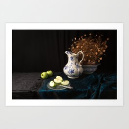 Green apples and china still life Art Print