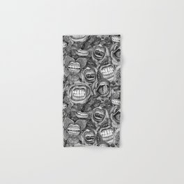BITE ME roses and orchids BLACK WHITE Hand & Bath Towel