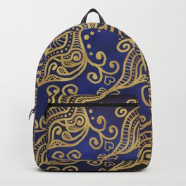 Abstract Gold Ocean Waves and Hearts on Blue Ombré background Backpack