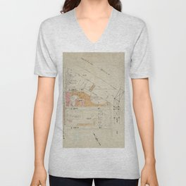 Map bounded by 2nd Ave., Harlem River, 1st Ave., E.126th St. Unisex V-Neck