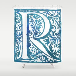Letter R Elegant Antique Floral Letterpress Monogram Shower Curtain