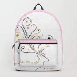 Typographic Reindeer Love - White Backpack