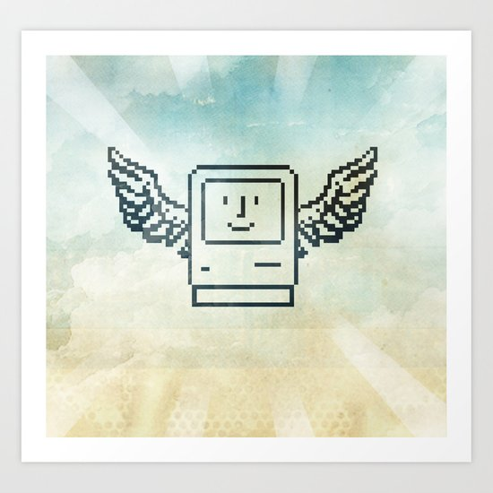 pixel mac with wings Art Print