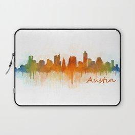 Austin Texas, City Skyline, watercolor  Cityscape Hq v3 Laptop Sleeve
