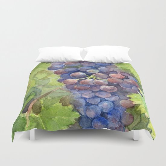 Grapes Watercolor | Wine Lovers Duvet Cover