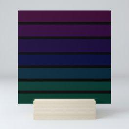 70s Style Dark Colored Stripes - Purple Blue Green Mini Art Print