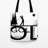 golf Tote Bags featuring Golf, golf, golf! b&w by South43