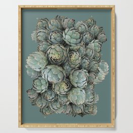 Archie talks (Artichokes) in teal Serving Tray
