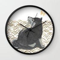 shiba inu Wall Clocks featuring SHIBA INU, DOG, SEIGAIHA  by Bless Hue