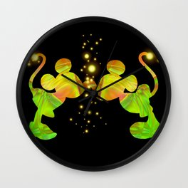 colorful mikey and minnie Wall Clock
