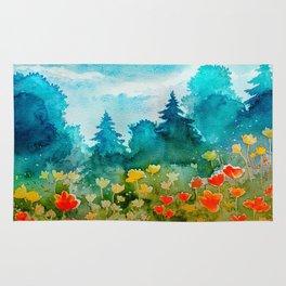 Watercolor Flower Spring Landscape Rug