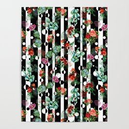 Cactus Flowers and Lines Poster
