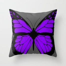 Purple Butterfly Art With Grey Background Throw Pillow