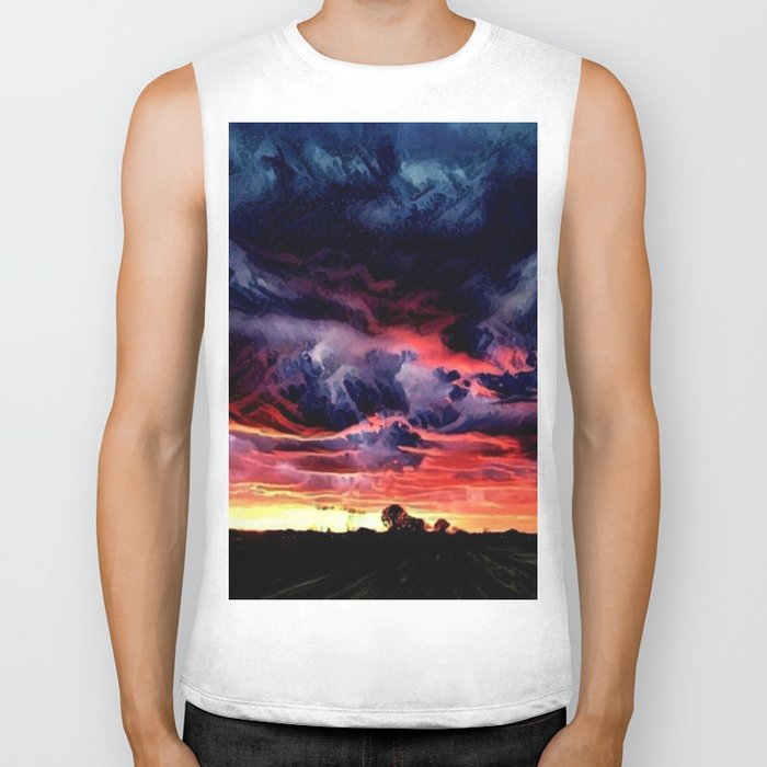 Sunset over the Horizon (Gorgeous Landscape) Biker Tank