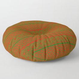 Red and Green Classic Nordic Christmas Pattern Floor Pillow