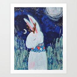 Moon Jackalope Art Print