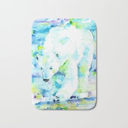 POLAR BEAR - watercolor portrait Bath Mat