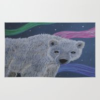 polar bear Area & Throw Rugs featuring Polar Bear by Renee Trudell