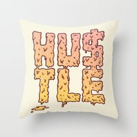 hustle Throw Pillows featuring HUSTLE by Wesley Bird