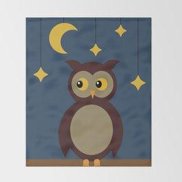 Brown Owl Moon Throw Blanket