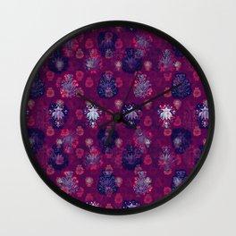 Lotus flower - wine red woodblock print style pattern Wall Clock
