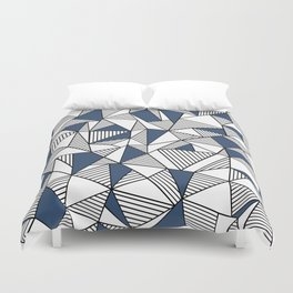 Abstraction Lines with Navy Blocks Duvet Cover