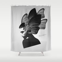 no face Shower Curtains featuring  face  by mark ashkenazi