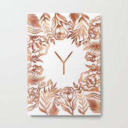 Letter Y - Faux Rose Gold Glitter Flowers Metal Print