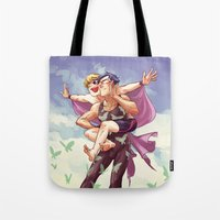 iwatobi Tote Bags featuring flying butts by krakenface